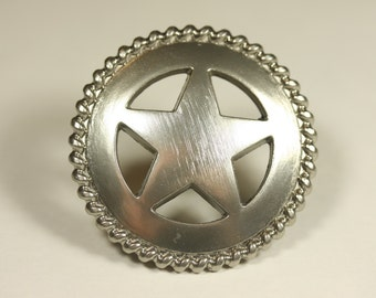 Western Style Star Rope Knob - Satin Nickel