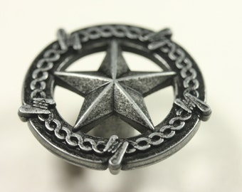 Western Style Star With Barbed Wire Knob - Antique Iron