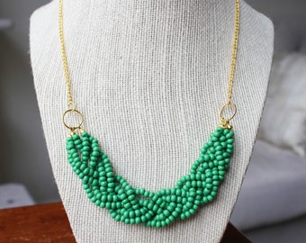 Green Statement Necklace with Gold Chain, Green Braided Bead Necklace, Green Multistrand Necklace, Gold Chain