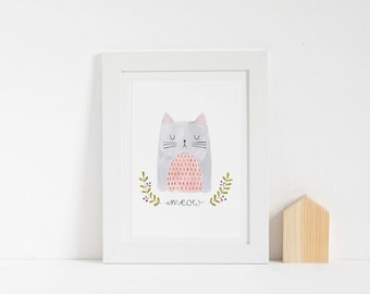 Children Illustration, Children Decor, Cat Art, Nursery Decor, Cute Cat, Meow, Watercolor Print