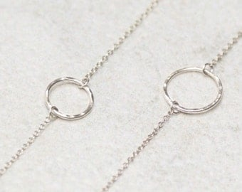 Hammered Circle Necklace - Sterling Silver - Short - Halo - Karma - Small - 12 mm | 14 mm - Simple - Dainty - Delicate