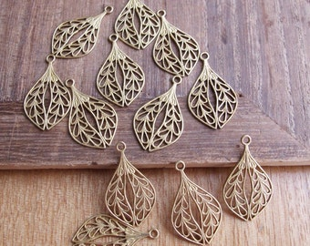 6pcs Leaf Shaped Filigree Pendant in Raw Brass 24x14mm - CB53FVS-40, One Loop Filigree Supplies for Earrings and Pendant Making