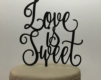 Love is sweet Cake Topper, Kate Spade Cake Topper, Wedding Cake Topper, Engagement Cake Topper, Anniversary Cake Topper, Love Cake topper