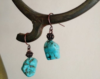 Rustic Turquoise and Copper Drop Earrings *** Free US Shipping ***