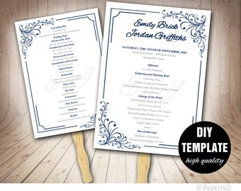 Elegant Wedding Program FAN Template,Printable Wedding Fan Program,Blue Wedding Program,Navy Wedding,Blue Fan Program,Navy Program Fan
