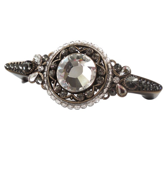 Antique Brass Drawer Pull Swarovski Crystal/Girls Dresser/Kitchen ...