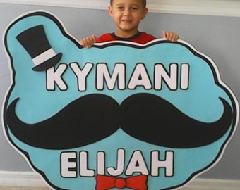 mustache party sign