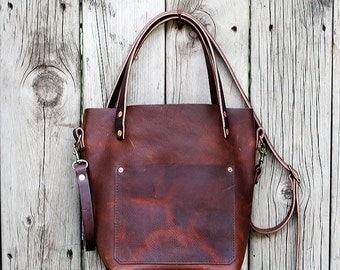 SMALL LEATHER TOTE with Cross Body Strap | All Leather Tote Bag with Bridle Leather Straps and Shoulder Strap | Lifetime Guarantee