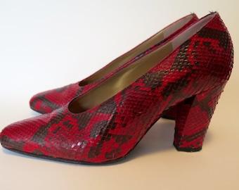 Yves Saint Laurent Vintage Red Snakeskin Pumps 37.5