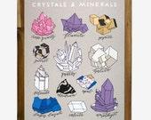 Crystals & Minerals 11 x 14 Screen Print