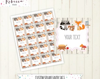woodland favor tags baby shower favor tags fox favor tags printable wood land tags forest friends tags birthday favor tags fox pink 189