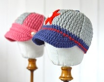 CROCHET PATTERN Baby Cap 2 versions Baby Girls Hat Baby Boys Cap instructions for 5 sizes Digital file instant download