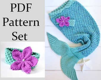 KNITTING PATTERN for Mermaid Tail Blanket for Children 6 sizes Digital File Instant Download