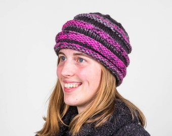 Knitted Adult Hat:  Size Medium - Pink, Gray, and Black