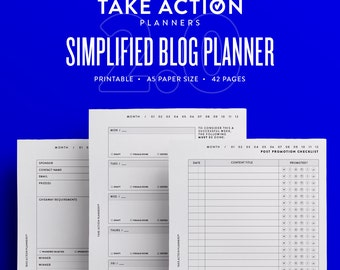 Simplified Blog Planner 2.0 / A5 Filofax Kikki Large Printable / Planner Inserts
