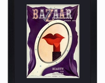 Harpers Bazaar - Beauty And Fashion - Red Lips - Mounted & Framed Vintage Print