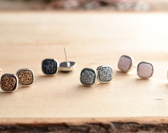 SALE!! Square Druzy Stud Earrings! Drusy stud earrings! 7 colors!!