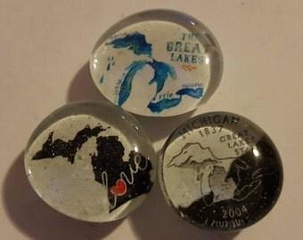Set of 3 strong glass state of Michigan, I love Michigan, water wonderland, refrigerator magnets, kitchen decor, MI, Pure Michigan, quarter