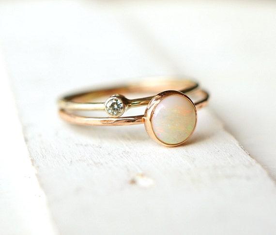 Opal Ring Moissanite Ring Ring Set Wedding Ring by Luxuring