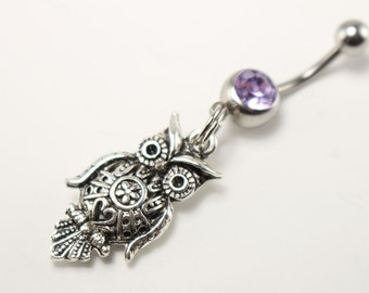 Silver Owl Belly Button Ring - Owl Belly Ring - Filigree Owl Jewelry - Silver Owl Jewelry - Nature Jewelry - Body Jewelry - Belly Bar