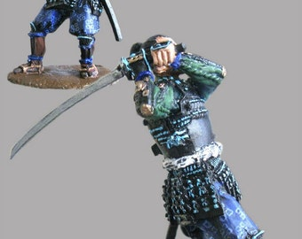 Japanese Samurai Model Figures  1/32 Scale Middle Ages Warriors Hand Painted 54mm Toy Soldiers Tin Metal Miniature Sculpture