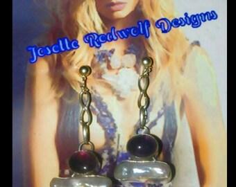 Amethyst and pearl earrings /dangle earrings/ chain earrings