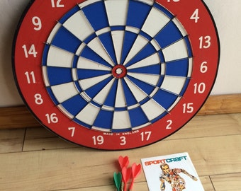 "Vintage Dart board by Sport Craft ,  Two sided 18"" Deluxe Dart Board , Made in England, With 4 Darts , Man Cave , Gift for Him"