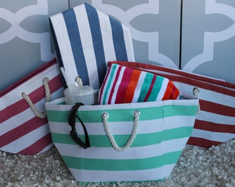 Beach Bag with Rope Handle/ Monogrammed Tote