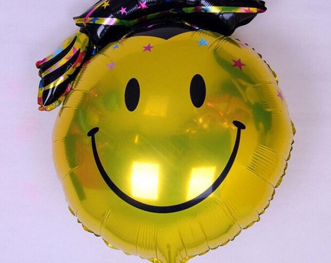 "Graduation Balloon Smiley Emoji in Cap HUGE 36"" 3 foot balloon Emoji, Emoticon Grad SALE, Graduation party decoration"