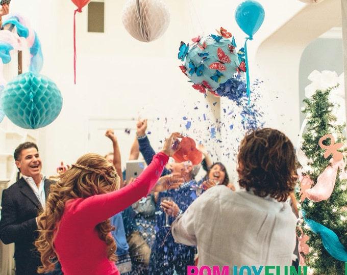 Gender Reveal Pinata  - Pull String Gender Reveal Pinata with Butterflies - Gender Reveal Party Ideas