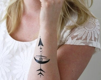 Large arrow temporary tattoo / bohemian temporary tattoo / arrow tattoo / bohemian gift / festival temporary tattoo / festival accessoire
