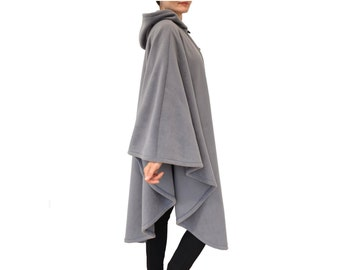 Long Cape Coat, Gray Hooded Cape, Long Hooded Cloak, Plus Size Cape Coat, Long Hooded Poncho, Medieval Cloak, Loose Fit Coat