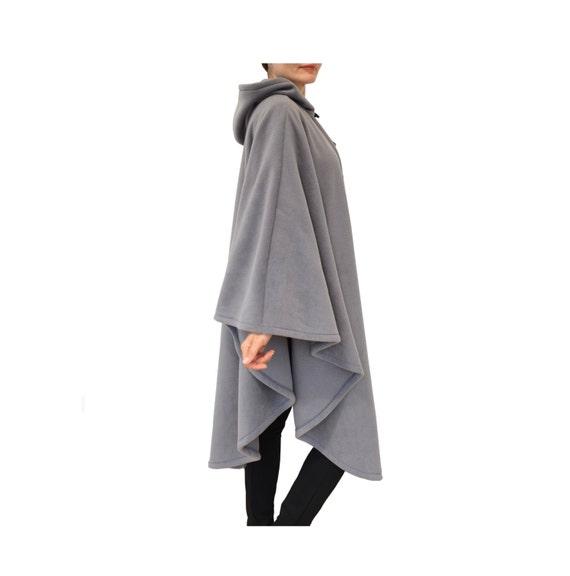 Long Cape Coat, Gray Hooded Cape, Long Hooded Cloak, Plus Size Cape Coat, Long Hooded Poncho, Medieval Cloak, Loose Fit Coat