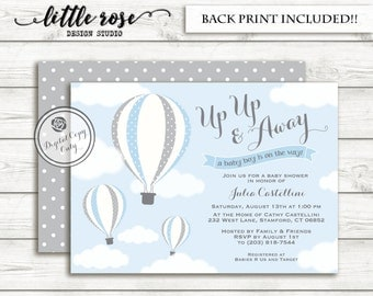 Hot Air Balloon Baby Shower Invitation - Up Up & Away Baby Shower Invite - Girl Baby Shower - Birthday - Printable - LR1003