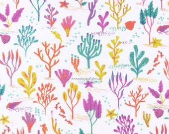Coral Sea Fabric, Dear Stella Life Aquatic Stella-500 Coral Reef, Ocean Quilt Fabric, Nautical Fabric, Coral Fabric, Cotton Quilt Fabric