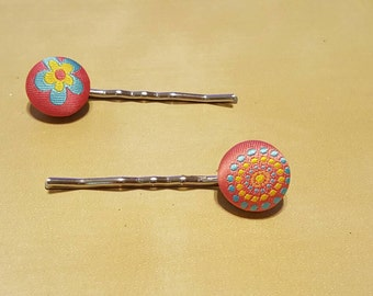 Fabric Button Bobby Pins