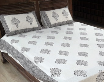Cotton Hand block Print Bed sheets with 2 pillow case from Jaipur