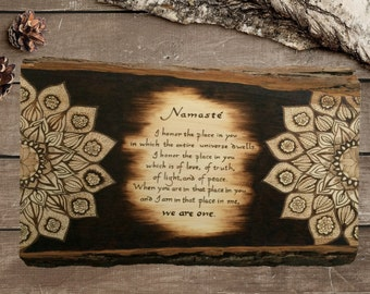 Namaste - Mandala - Rustic Decor - Wooden Sign - Farmhouse - Wood Burning -  Unique Art - Religious Art -  Hout Branden - TimberleeEU