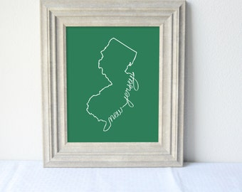 Printable New Jersey State Art Print 8x10 Digital Wall Art Gift