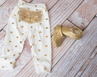 Newborn Coming Home Baby Pants with Gold Polka Dots for Baby Shower Gift or Hospital Outfit/Baby's First Outfit