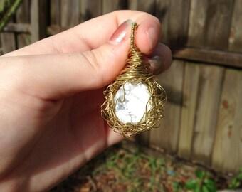 Howlite Bird's Nest Pendant