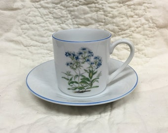 Takahashi Porcelain Demitasse Cup and Saucer, Blue Floral, Green Leaves, Blue Rim Cup, White Saucer Blue Rim, Japan, Demitasse, Espresso