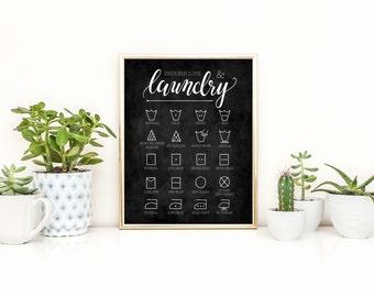 Endless Love & Laundry Chalkboard Art Print, Laundry Symbol Guide Print, Laundry Room Decor, Digital Download