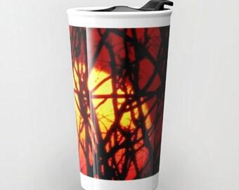 Red Ceramic Travel Mug, Burning Sunset Mug, Travel Coffee Mug, Coffee Cup, Orange Ceramic Mug, To Go Mugs, To Go Coffee Cup with Lid Car Mug