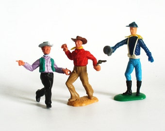 Timpo toys Wild West cowboys and Union Army bugler toy soldier Swoppets