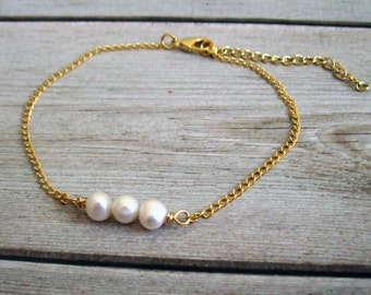 Gold Anklet - Pearl Anklet - Gold Ankle Bracelet - Foot Jewelry - Foot Bracelet - Beaded Anklet - Summer Jewelry - Beach Jewelry