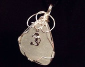 White Sea Glass Pendant / Genuine / Puget Sound / Sterling Silver / Wire Wrapped / Silver Mermaid Charm  / Beachy / Trending