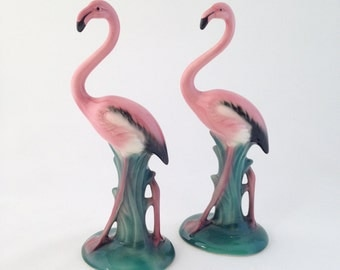 Vintage Flamingo, Figurine, Collectible, Will George, Signed, Mid Century, Flamingo Pair, Porcelain