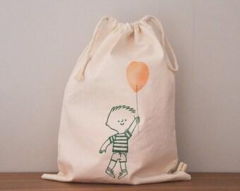 Earthquake Italy Aid // drawstring bag // cotton // hand-printed