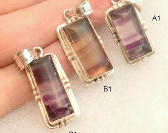 Fluorite Pendant. Sterling Silver. Banded or Carved free US ship